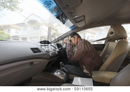 Asian Man Fall Asleeping On Car Driving Seat