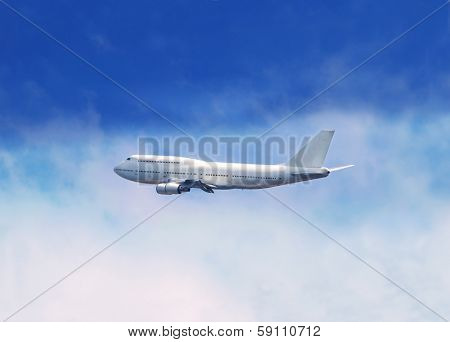 Passenger jet airliner in flight, over white clouds with blue sky in background.