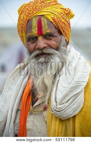 INDIA - FEBRUARY 17: Indian man in Allahabad during Kumbh Mela Festival on February 17, 2013.