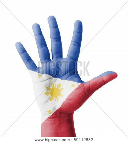Open Hand Raised, Multi Purpose Concept, Philippines Flag Painted - Isolated On White Background