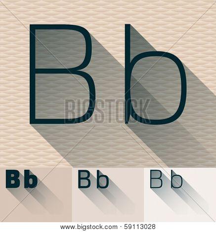 Vector illustration of flat modern long transparent shadow alphabet. Letter b