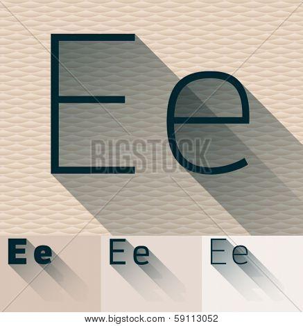 Vector illustration of flat modern long transparent shadow alphabet. Letter e