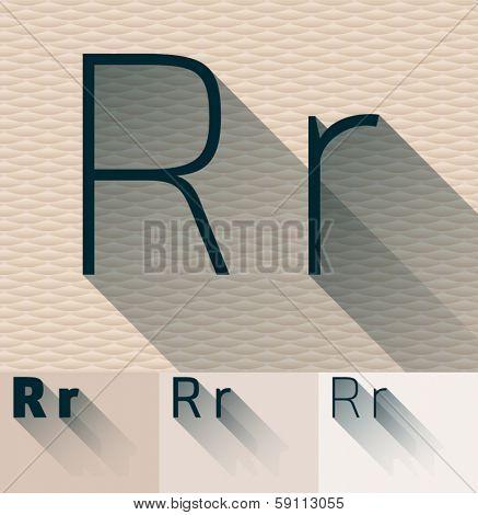 Vector illustration of flat modern long transparent shadow alphabet. Letter r