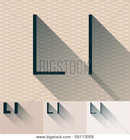 Vector illustration of flat modern long transparent shadow alphabet. Letter l