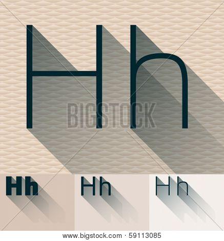 Vector illustration of flat modern long transparent shadow alphabet. Letter h