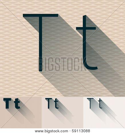 Vector illustration of flat modern long transparent shadow alphabet. Letter t