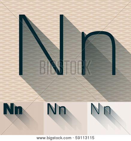 Vector illustration of flat modern long transparent shadow alphabet. Letter n