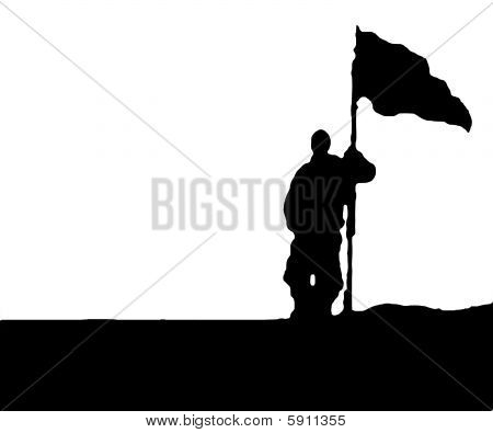 Illustration of Man holding a Flag - Isolated on White