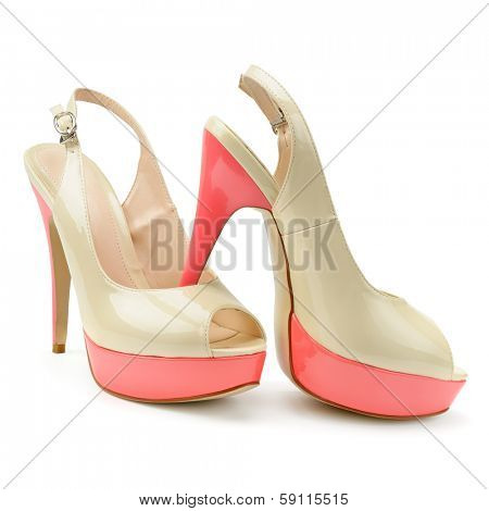 beautiful woman shoes isolated on a white background