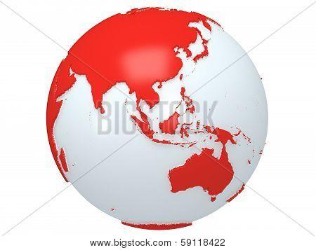Earth planet globe. 3D render. On white background.