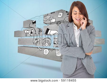 Happy thinking businesswoman against faint brain on blue background