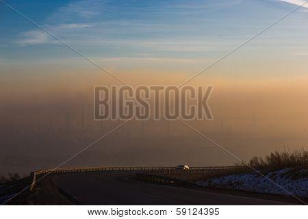 smog over plant