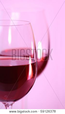 Two Wine Glasses With Red Wine Closeup