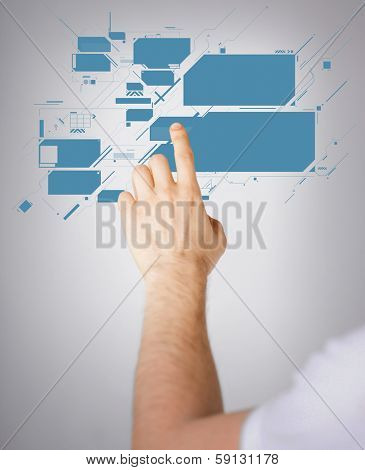 future technology concept - closeup of man hand pointing at virtual screen