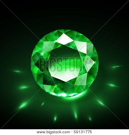 Realistic emerald vector - raster version