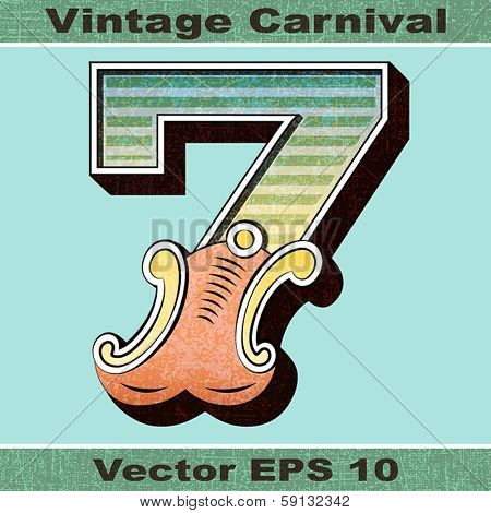 The Number 7, Seven of an Alphabet Sit of Vintage, Carnival, Circus, Funfair, Fishtail Letters and Numbers.