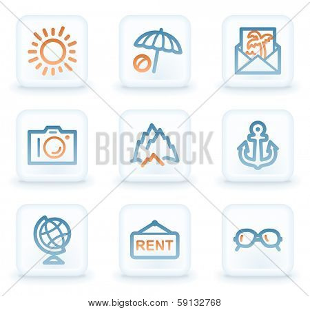 Travel web icons, white square buttons