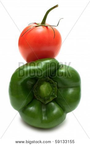 Ideal Couple Green Bell Pepper And Tomato Isolated On White