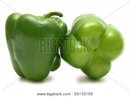 Ideal Couple Green Bell Peppers Isolated On White