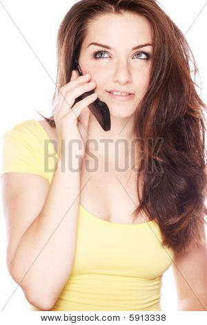 Beautiful Young Woman On Her Phone