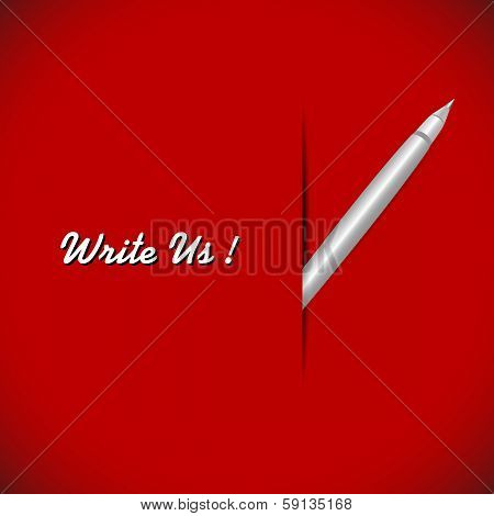 Pen On The Red Background
