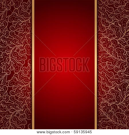 Elegant Burgundy Background With Lace Ornament