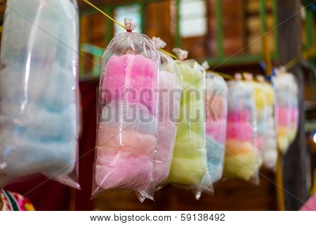 cotton candy in rainbow colours