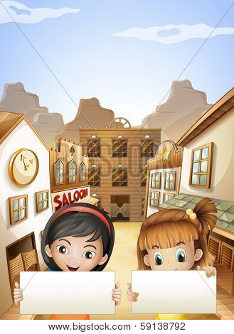 Illustration of the two kids near the saloon bars holding two empty signboards