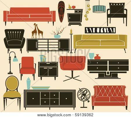 Retro Furniture and Home Accessories, including sofas, love seat, sofa tables, side tables, armchairs, chandeliers and home decoration