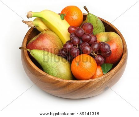 Bowl of fresh fruit, isolated on white background.