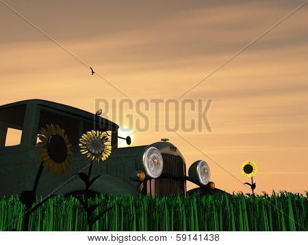 Weathered Truck and Sun with Flowers