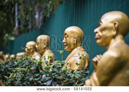 Buddha statues at Ten Thousand Buddhas Monastery in Hong Kong, China.