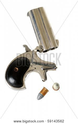 2 barrel .41 caliber derringer with cartridges