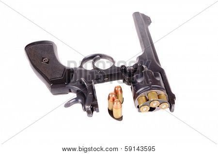 Antique British Webley Mark VI revolver with C clips for rapid loading and ammunition isolated on a white background