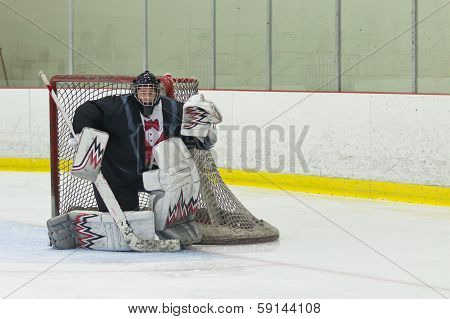 Hockey Goalie Ready For The Puck