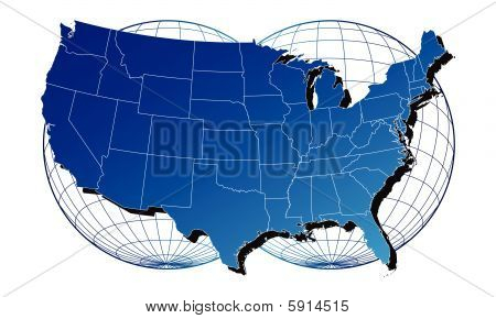 America map and flag