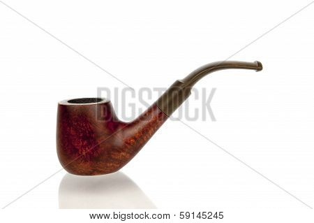 Antique Tobacco Pipe Isolated In White