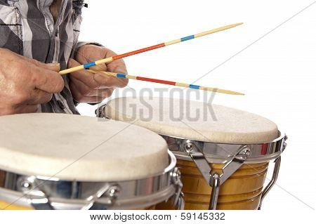 Man Playing Bongo With Sticks
