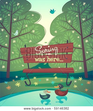 Bench in the park. Vector illustration.