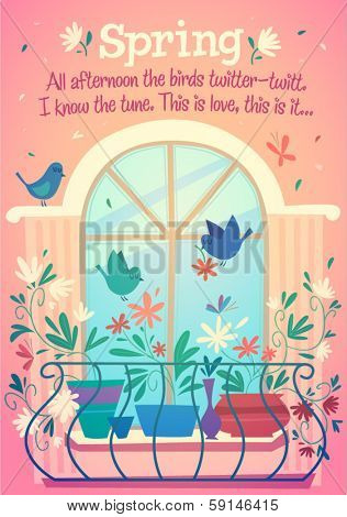 Spring is outside of window. Vector illustration.