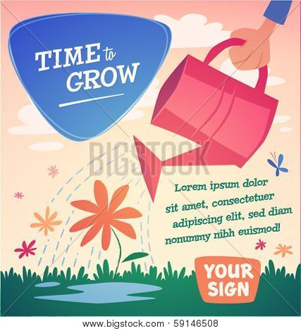 Watering flowers. Vector illustration.
