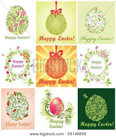 Collection of greeting cards with Easter eggs