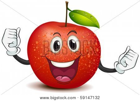 Illustration of a smiling crunchy apple on a white background