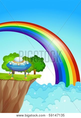 Illustration of a saucer at the cliff and a rainbow in the sky