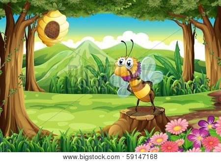 Illustration of a bee and a beehive at the forest