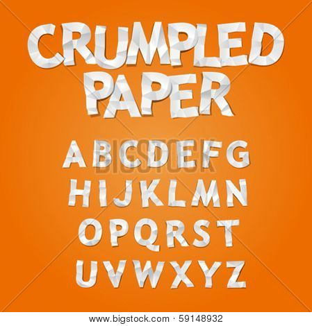 Crumpled Paper Alphabet, vector