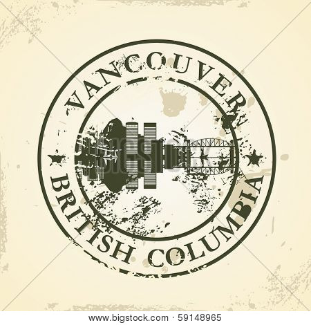 Grunge rubber stamp with Vancouver, British Columbia - vector illustration