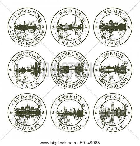 Grunge rubber stamps with London, Paris, Rome, Barcelona, Edinburgh, Zurich, Budapest, Krakow and Pisa - vector illustration