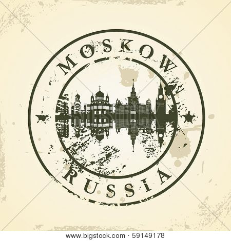 Grunge rubber stamp with Moskow, Russia - vector illustration
