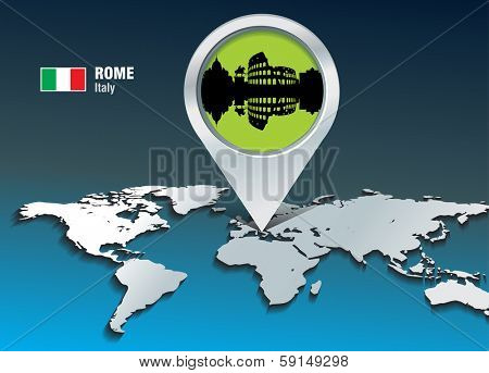 Map pin with Rome skyline - vector illustration